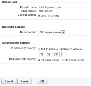 Setting Subdomain A Record on 1and1