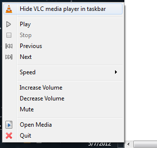 Simply right click for Hide VLC access