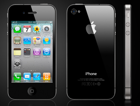 A compelling image of the front, back and side of the iPhone 4