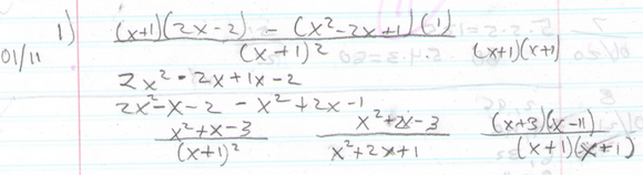 An example problem solved by me one day in class