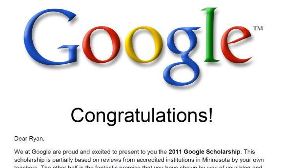 Google Congratulations letter promo! Click for more!