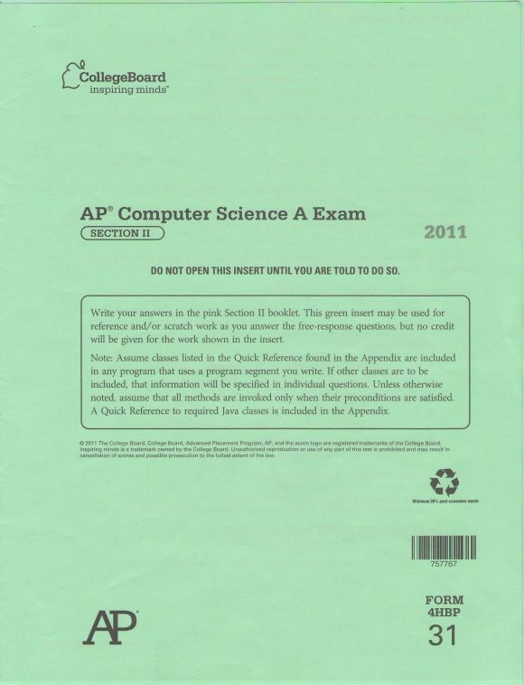 AP Computer Science Green Packet