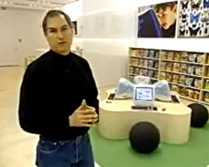 Steve Jobs in the old Apple Store kids section