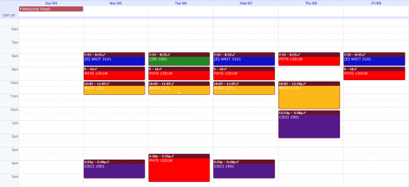 Tentative Fall Schedule