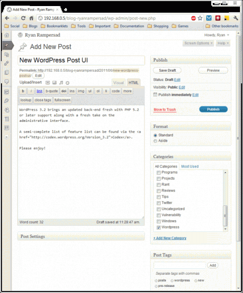 WordPress 3.2 Post UI