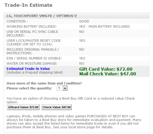 $70 for the LG Optimus V trade in at Best Buy