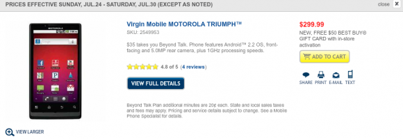 Motorola Triumph with a $50 GC with Activation
