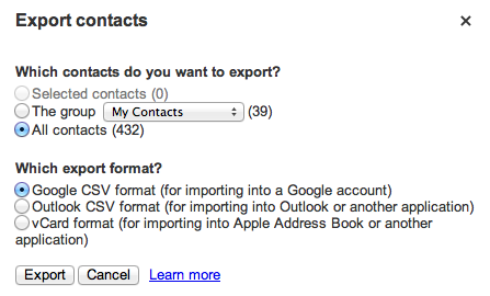 Export to Google Contacts